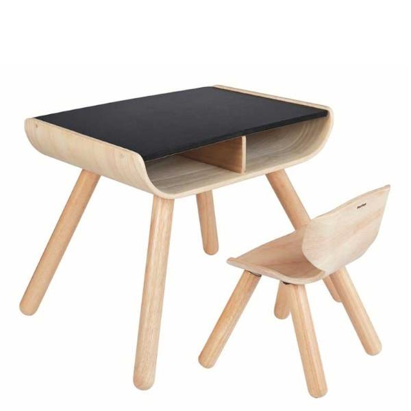 Σετ Τραπέζι & Καρέκλα, Μαύρο, Plantoys, Ξύλινο, Οικολογικό, Εκπαιδευτικό, Παιχνίδι