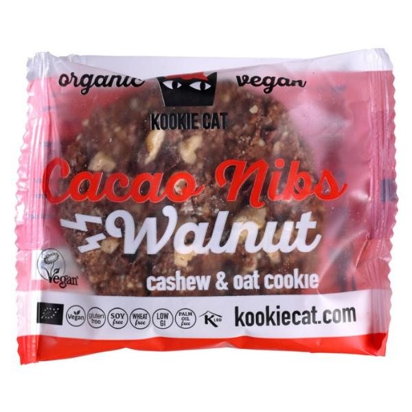 Βιολογικά Μπισκότα Βρώμης με Κακάο & Καρύδια, 50 γρ., Bio, Kookie Cat