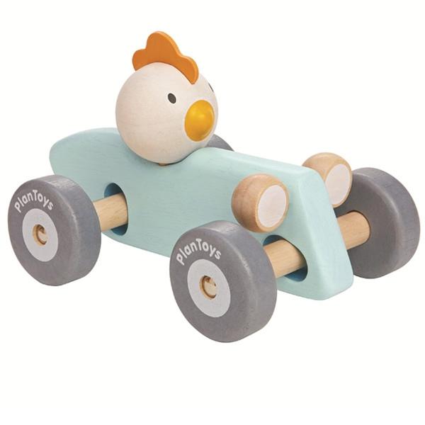 Αγωνιστικό Αυτοκίνητο με Κοτοπουλάκι, Παστέλ Plantoys, Ξύλινο, Οικολογικό, Εκπαιδευτικό, Παιχνίδι