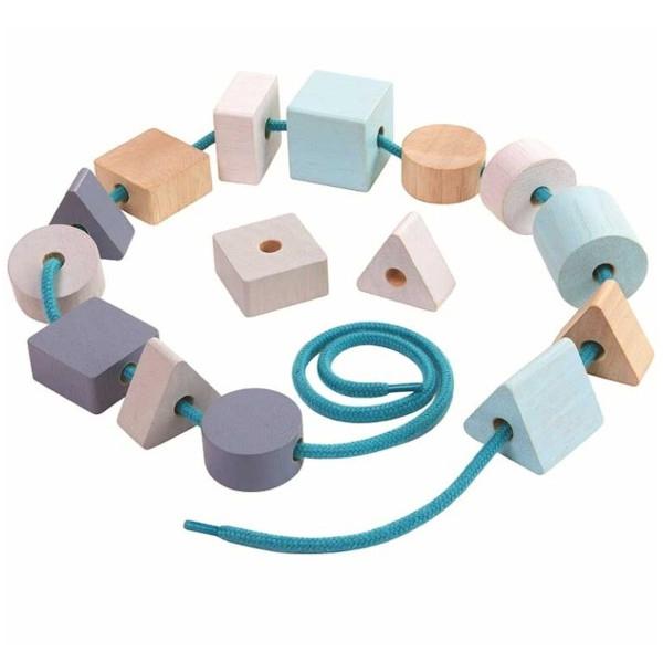 Χάντρες Γεωμετρικά Σχήματα Plantoys, Ξύλινο, Οικολογικό, Εκπαιδευτικό, Παιχνίδι