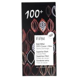 Βιολογική Μαύρη Σοκολάτα 100% Κακάο, 80 γρ., Bio, Vivani