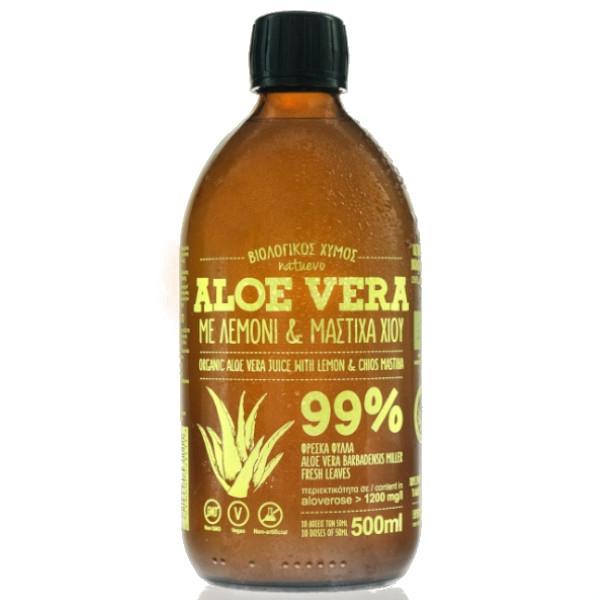 Βιολογικός Χυμός Αλόης Φρέσκος με Λεμόνι & Μαστίχα Χίου Bio 500ml, Ελληνικός, Natuevo