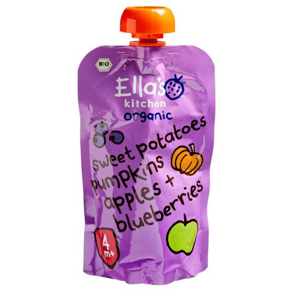Βιολογικός Πολτός Γλυκοπατάτας Μήλου Blueberry, 120 γρ., Bio, Ella's Kitchen