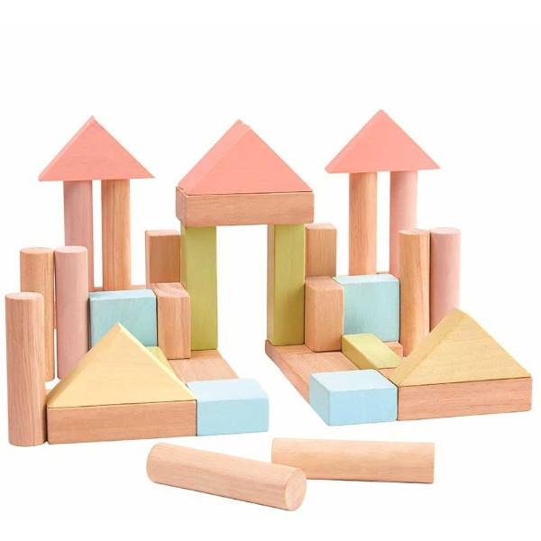 Τουβλάκια Παστέλ 40 τμχ, Plantoys, Ξύλινο, Οικολογικό, Εκπαιδευτικό, Παιχνίδι