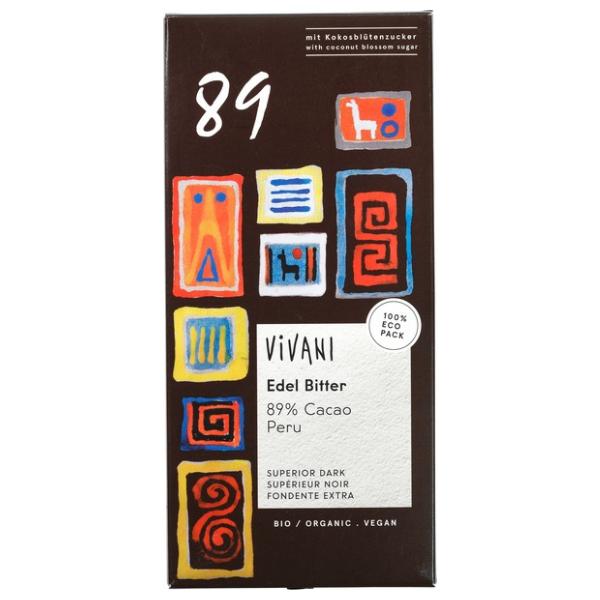 Βιολογική Μαύρη Σοκολάτα 89% Κακάο, 80 γρ., Bio, Vivani