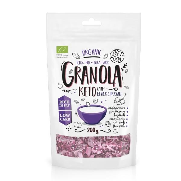 Βιολογική Granola με Μαύρο Φραγκοστάφυλλο 200γρ, Κέτο, Vegan, Diet Food