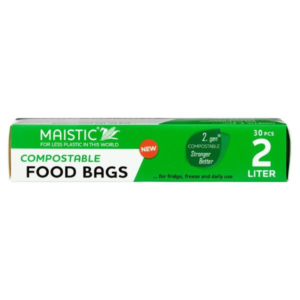 Ανακυκλώσιμες Σακούλες Τροφίμων 2 L, 30 τεμάχια, Maistic