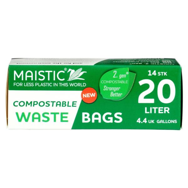 Ανακυκλώσιμες Σακούλες Σκουπιδιών 20 L, 14 τεμάχια, Maistic