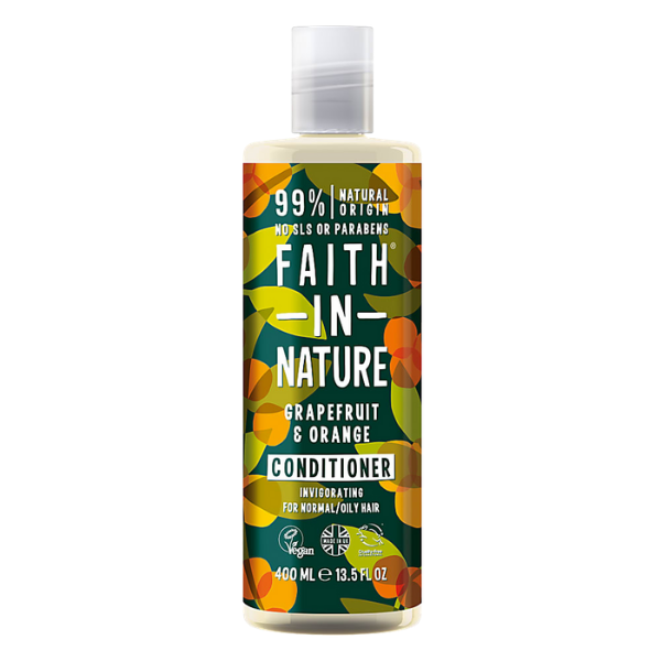 Μαλακτική Κρέμα Μαλλιών με Βιολογικό Γκρέιπφρουτ και Πορτοκάλι, 400ml, Faith In Nature