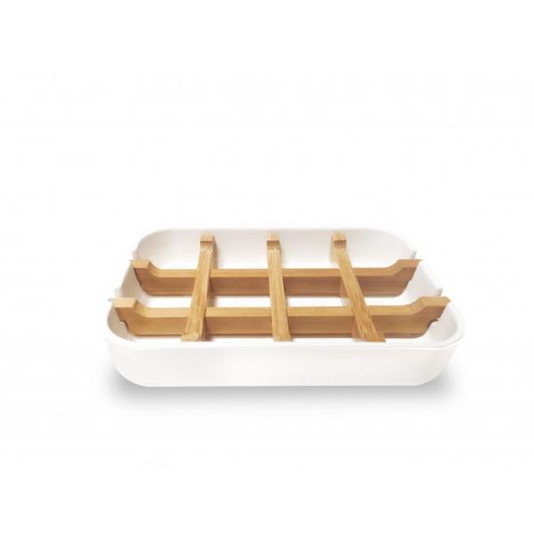 Bamboo Smiles Πιάτο Σαπουνιού από άμυλο Καλαμποκιού και Μπαμπού Λευκό