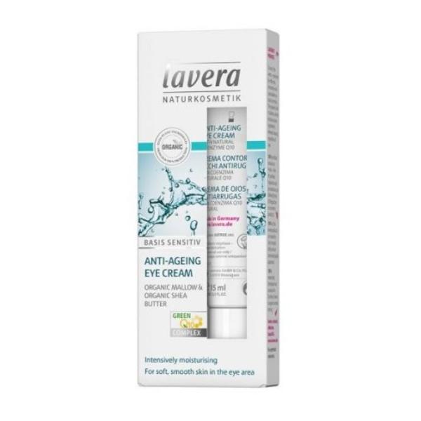 Lavera Κρέμα Ματιών Q10 με Αντιγηραντική Δράση 15ml Basis Sensitive, Βιολογική