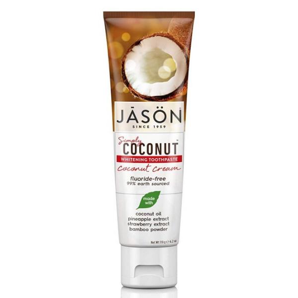 Jason Oδοντόκρεμα με κρέμα Καρύδας για Λεύκανση χωρίς Φθόριο119 γρ