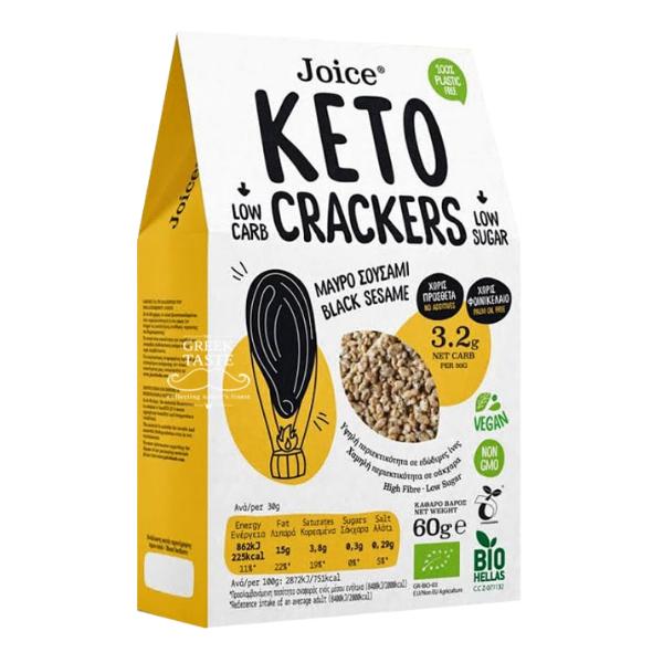 Βιολογικά Keto Κράκερς με Μαύρο Σουσάμι, 60 γρ., Bio, Joice