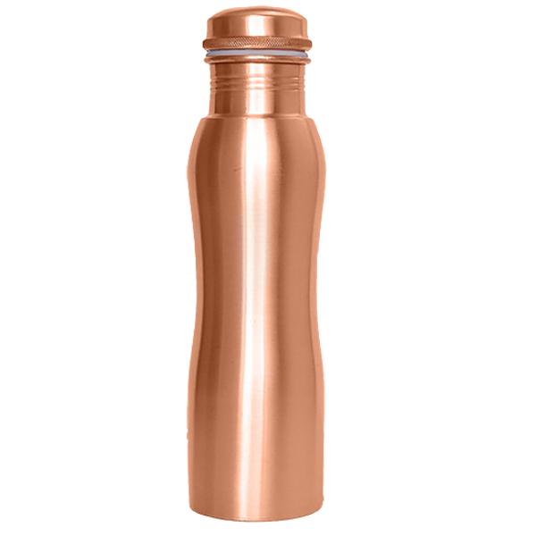 Ματ Χάλκινο Μπουκάλι Νερού με καμπύλες (900ml)