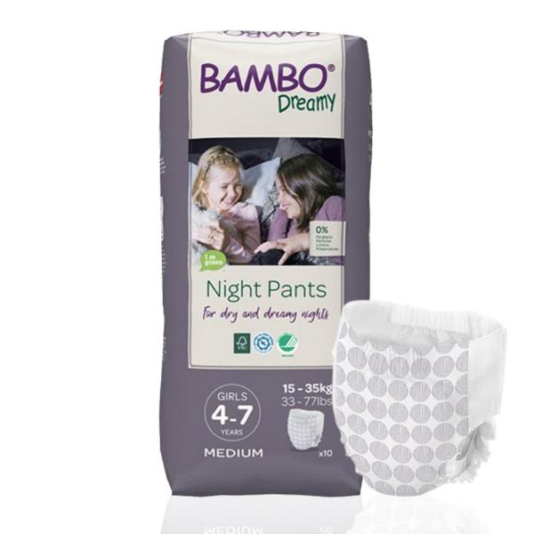 Παιδικό βρακάκι bambo dreamy 4-7y girl ,15-35kg ,10τεμ, bambo