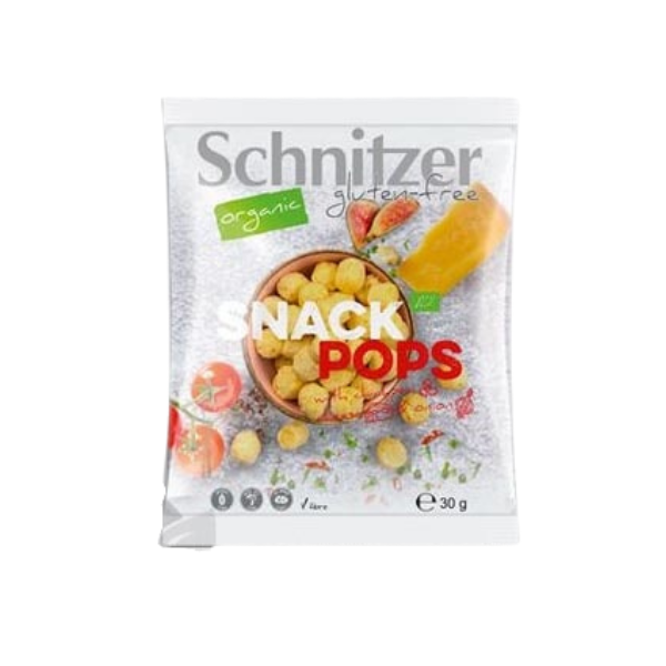 Βιολογικά σνακ Pops ρεβιθιού, με τυρί & κρεμμύδι, Schnitzer