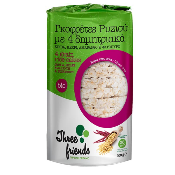 Βιολογικές Ρυζογκοφρέτες με 4 Δημητριακά Bio, Ελληνικές, Organic 3s