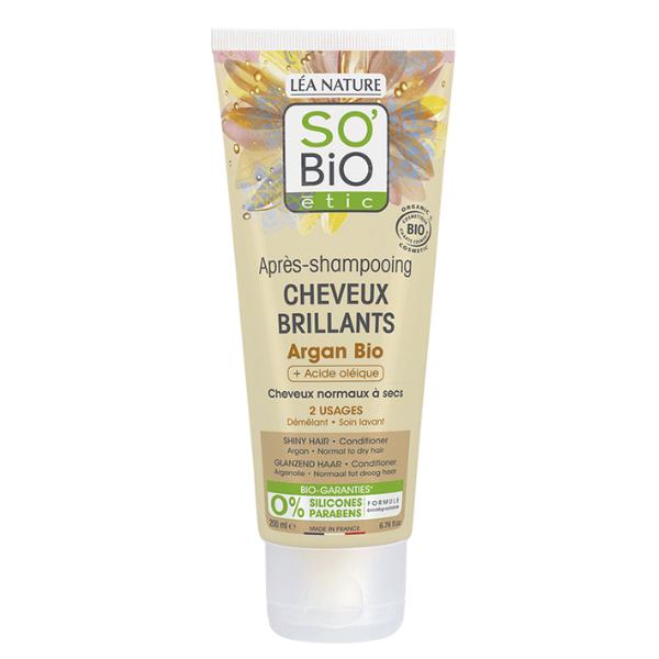 Μαλακτική Κρέμα Μαλλιών με Έλαιο Αργκάν και Ελαϊκό οξύ 200ml, SO'BiO etic