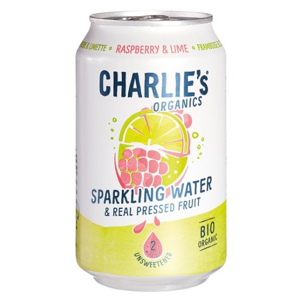 Βιολογικό Ανθρακούχο Νερό με Raspberry & Lime, 330 ml, Charlie's
