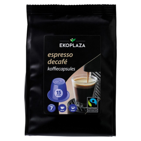 Βιολογικός Καφές Εσπρέσο Decafe, 15 κάψουλες, Bio, Ekoplaza (Συμβατό με μηχανή Nespresso)