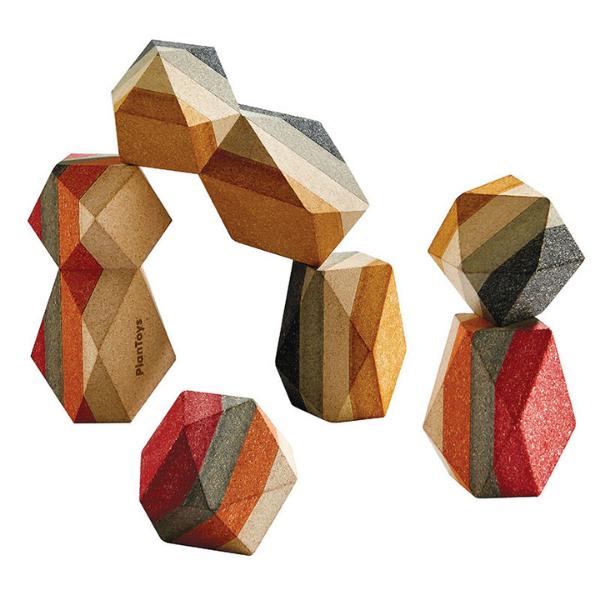 Γεωμετρικά βραχάκια, Plantoys, ξύλινο, οικολογικό, εκπαιδευτικό, παιχνίδι