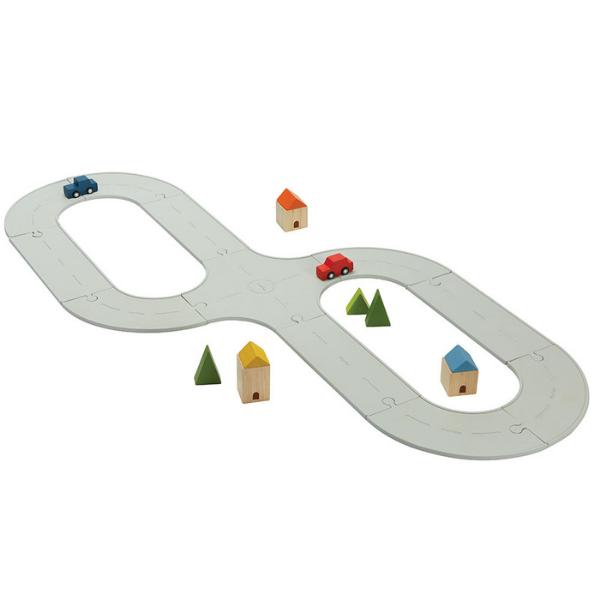 Οδικό & σιδηροδρομικό σετ (καουτσούκ), Plantoys, ξύλινο, οικολογικό, εκπαιδευτικό, παιχνίδι