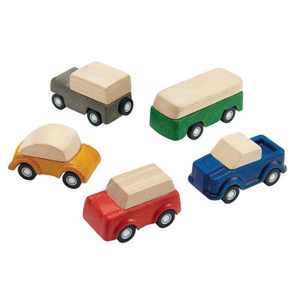 Αυτοκινητάκια (Σετ 5 τμχ), Plantoys, ξύλινο, οικολογικό, εκπαιδευτικό, παιχνίδι