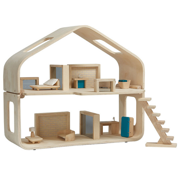 Μοντέρνο κουκλόσπιτο (επιπλωμένο), Plantoys, ξύλινο, οικολογικό, εκπαιδευτικό, παιχνίδι