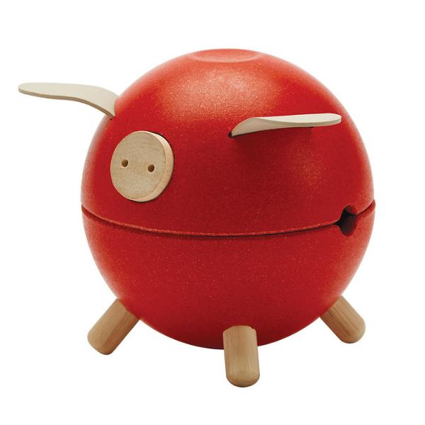 Κουμπαράς γουρουνάκι – κόκκινος, Plantoys, ξύλινο, οικολογικό, εκπαιδευτικό, παιχνίδι