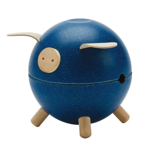 Κουμπαράς γουρουνάκι – μπλε, Plantoys, ξύλινο, οικολογικό, εκπαιδευτικό, παιχνίδι