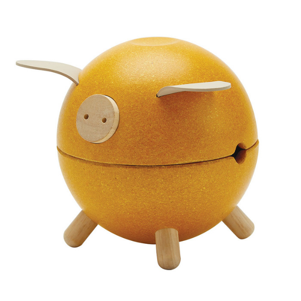 Κουμπαράς γουρουνάκι – κίτρινος, Plantoys, ξύλινο, οικολογικό, εκπαιδευτικό, παιχνίδι