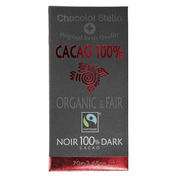 Βιολογική Σοκολάτα Κακάο 100%, 70 γρ., Bio, Chocolat Stella