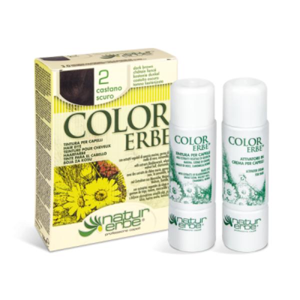 Βαφή μαλλιών, No2 σκούρο καστανό, color erbe, Natur Erbe