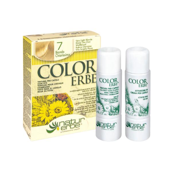 Βαφή μαλλιών, Νο7, πολύ ανοιχτό ξανθό, color erbe, Natur erbe