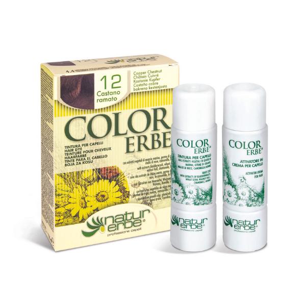 Βαφή μαλλιών, Ν012, καστανό χαλκού, color erbe, Natur erbe