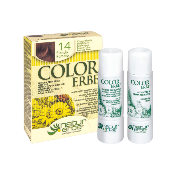 Βαφή μαλλιών, Νο14, ξανθό χαλκού, color erbe, Natur erbe