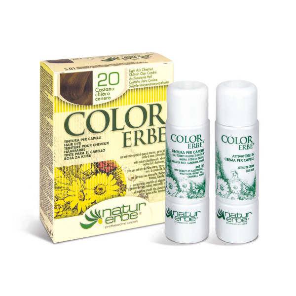 Βαφή μαλλιών, Νο20, καστανό ανοιχτό-σαντρέ, color erbe, Natur erbe
