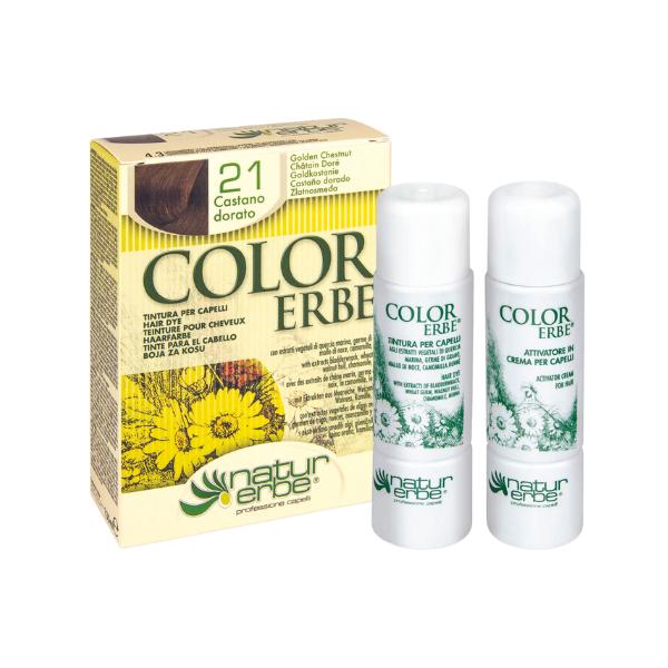 Βαφή μαλλιών, Νο21, καστανό-χρυσαφί, color erbe, Natur erbe