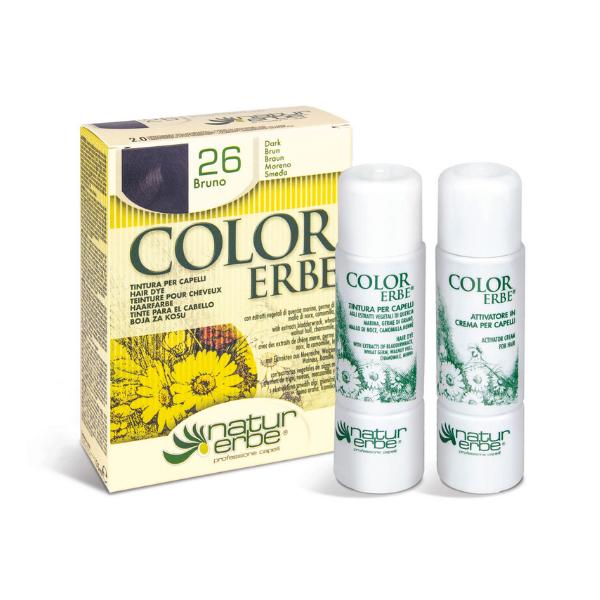 Βαφή μαλλιών, Νο26, καστανό-καφε΄, color erbe, Natur erbe