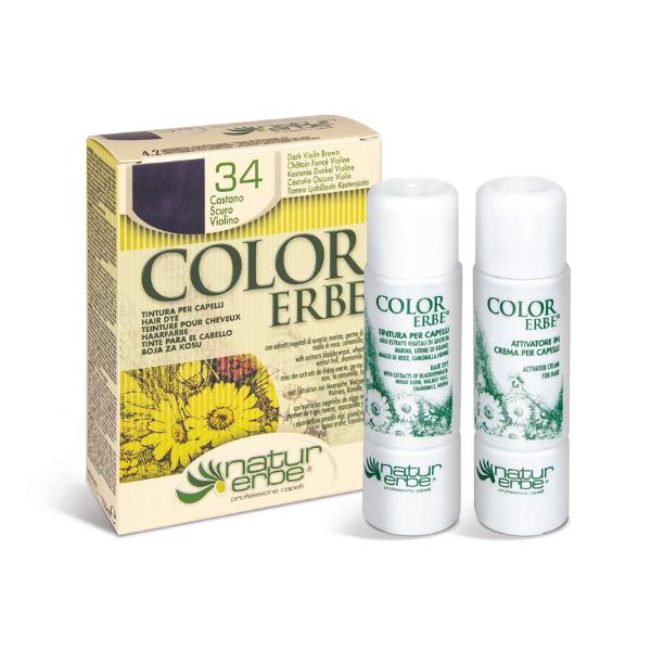 Βαφή μαλλιών, Νο34, Καστανό σκούρο βιολετί, color erbe, Natur erbe